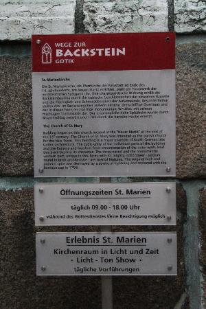 St. Marienkirche : Auch hier sinnvolle Basisinformationen