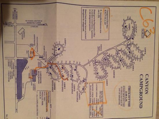 Campground Map - Picture of Canyon Village Campground ...