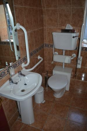Bathroom sink and toilet. Note the separate hot and cold taps on the ...