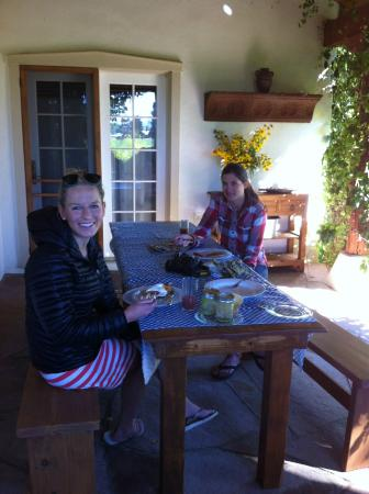 Paonia, CO: guests enjoying a morning on the terrace