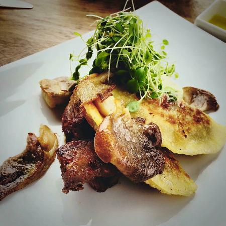 Waiheke Island, New Zealand: Enjoying mushroom pierogy, kefir cream, cress with free range pork cheek at The Shed.