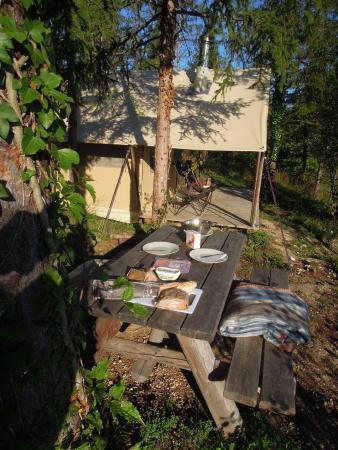 Antonne-et-Trigonant, ฝรั่งเศส: camping Huttopia Lanmary, huur accomodatie