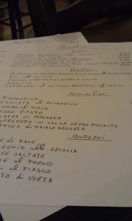Il Menu Picture Of Osteria Del Gatto Siena Tripadvisor