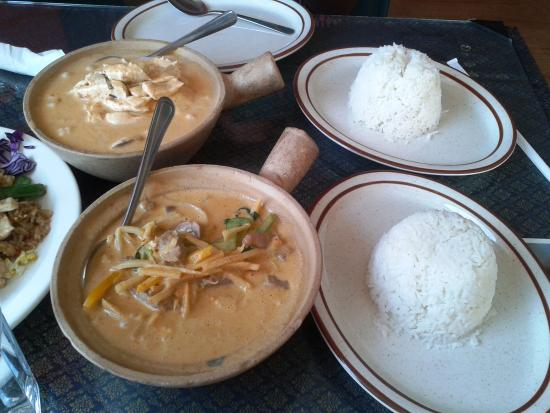 Westchester, IL: Panang curry and Red curry with rice