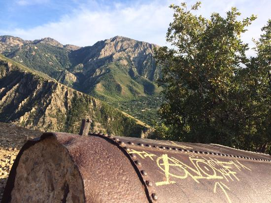 Mill Creek Canyon: The 'pipe' at the overlook, end of the Pipeline Trail.