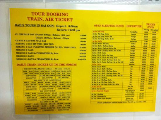 Thanh Guest House : Daftar harga trip dan bis per September 2015