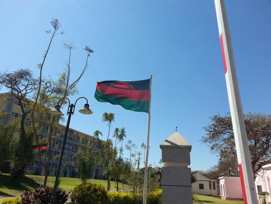 Malawian Flag at the Entrance to Golden Peacock Hotel