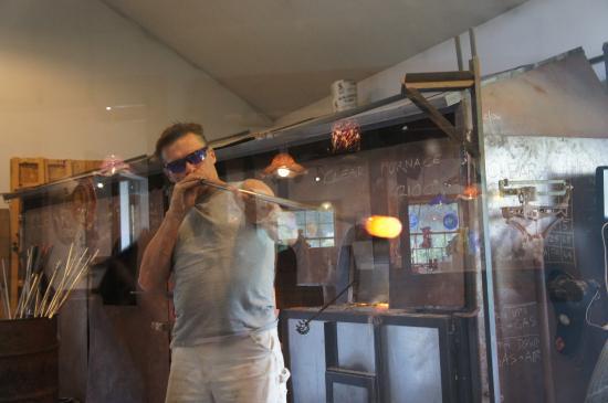 Waterbury, VT: Mr Ziemke blowing glass