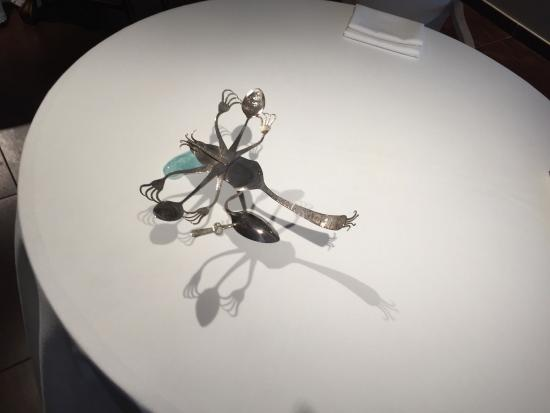 TABLE DECORATION OUT OF SPOONS AND FORKS - Picture of Jardin, Port d ...