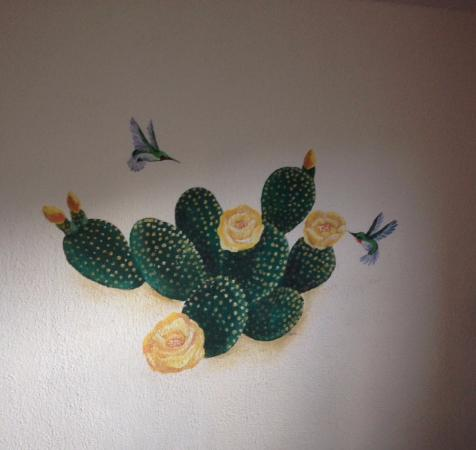 Historic C.O.D. Ranch: Prickly Pear Cactus and Hummingbird Mural