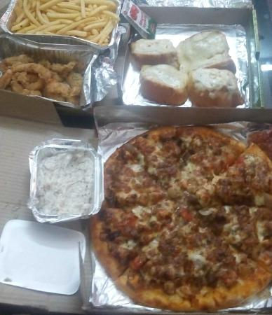 Favourite: MOZZARELLA BREAD-garlic bread with cheese,5pc rs100, FRENCH FRIES-rs100,CRUNCHY CHICKEN STRIPS r