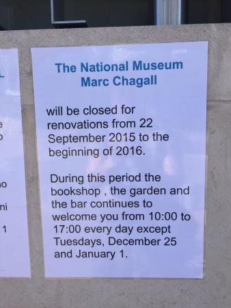 Musée Marc-Chagall (Nice) : Chagall Museum is CLOSED!!