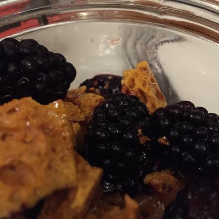 Hemyock, UK: Homemade honeycomb with mango sorbet, conserved and freshly foraged fruits - Lovely!