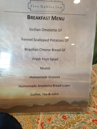 East Boothbay, ME: Breakfast menu one morning with gluten free offerings