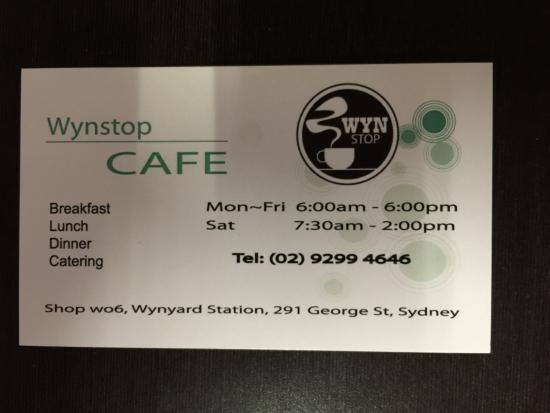 Business card picture of wynstop cafe sydney tripadvisor wynstop cafe business card colourmoves