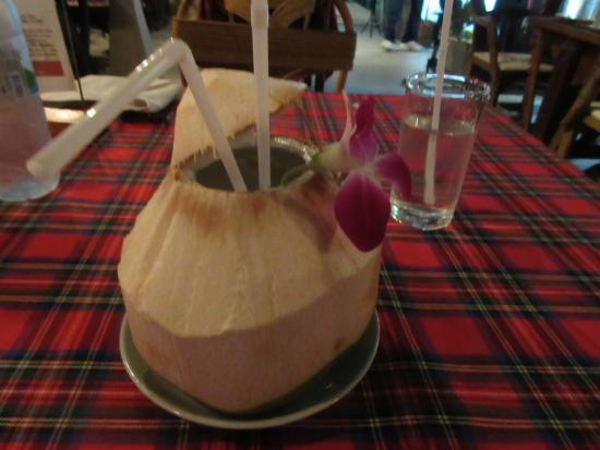 Long Table at Choengmon: Coconut juice