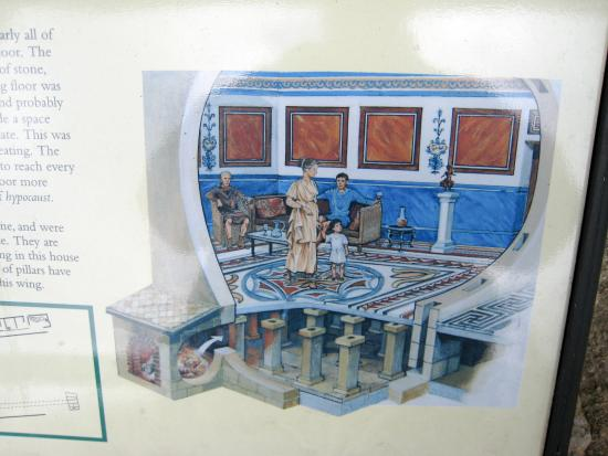 the villa was centrally heated by hypocaust floor construction