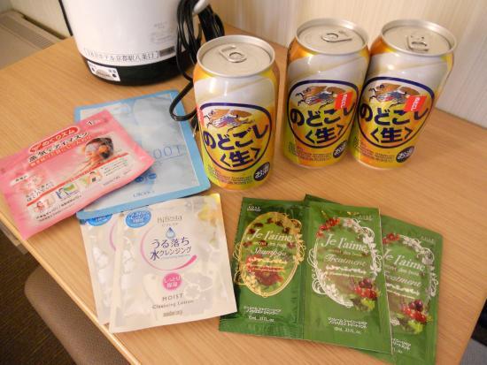 R&B Hotel Kyoto Station Hachijyoguchi: ドリンクとアメニティをいただきました