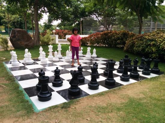 Village Retreat: A huge chessboard at the entrance
