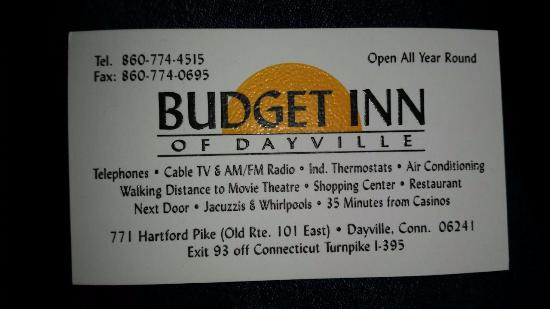Budget Inn - Dayville : Business card