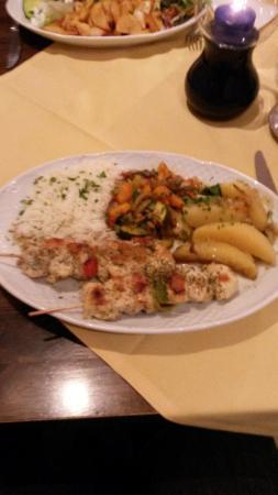 Restaurant Mythos Fisch und Lamm: Brochettes de poulet
