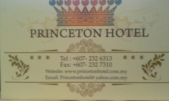 Namecard & Contact Details for Princeton Hotel