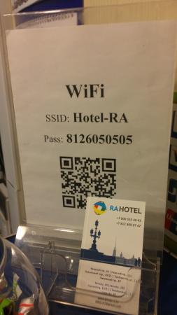 Ra Tambovskaya 11 Hotel: Ресепшн. Пароль от Wifi