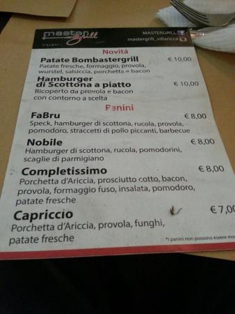 Villaricca, Italy: menu master grill
