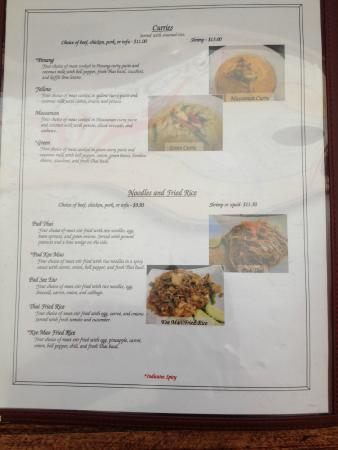 Thai Spice: Menu Page 3
