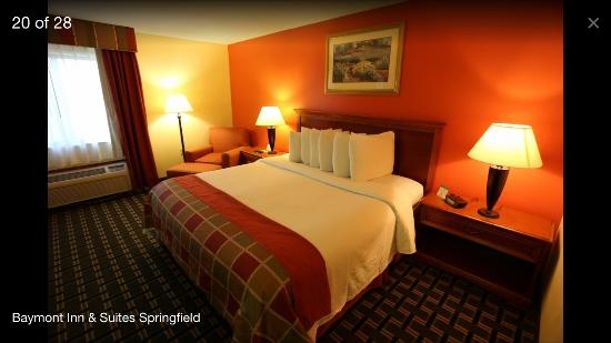 "Baymont Inn & Suites Springfield: A 100% non smoking king size bed room comes with microwave/fridge, 40"" LED cable tv & hot breakf"
