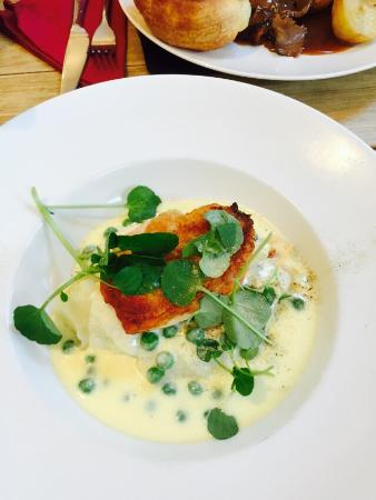 The George Hotel: Part of the Sunday lunch menu, 3 courses for £14.95, below Chicken with chorizo mash and creamy
