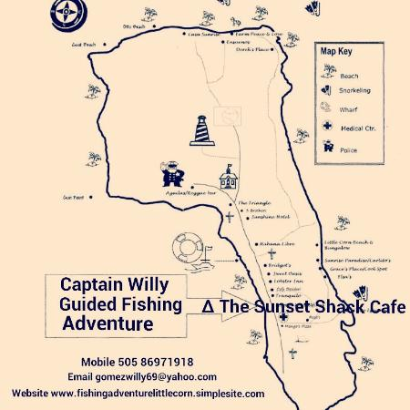Capt Willy Guided Fishing Adventure Map Of Little Corn Island