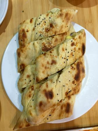 Turkish Halal Pide House: part of vegetarian banquet: generous pide filled with melted cheese and potatoes