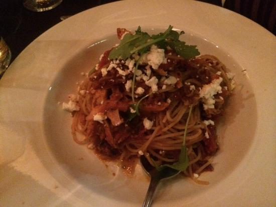 Baldini's: Margarita pizza, spaghettini con pollo and Caesar salad.  Excellent service, warm and welcoming