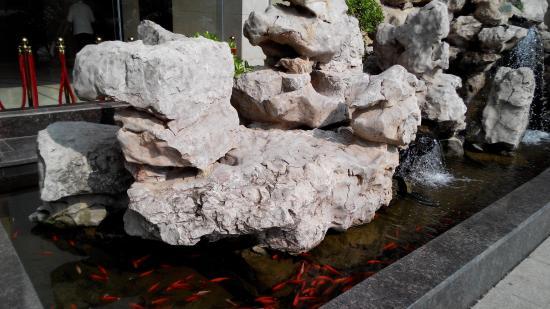 Dongtai, China: Маленький фонтанчик с рыбками  у отеля
