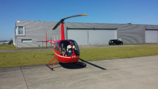 Robinson R44 helicopter at our homebase in Wevelgem