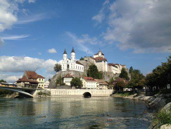 Aarburg Castle above the Aare river