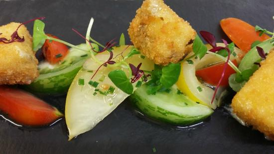 The Cellar Door: Dunsyre blue croquettes with heritage tomatoes