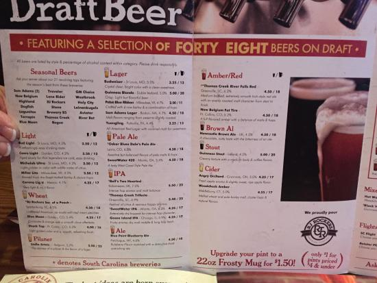 Draft Beer Selections Picture Of Carolina Ale House Greenville