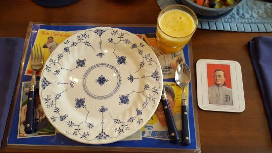 Baseball Bed and Breakfast: A place setting at the table.