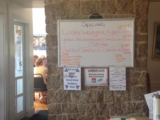 Menu board inside the Harbor Cafe, Stonington, ME