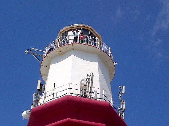 Tour visitors at the top of St. David's Lighthouse