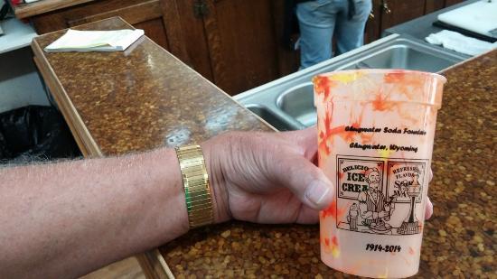 souvenir cup, Chugwater Soda Fountain, Chugwater, WY, Sep 2015