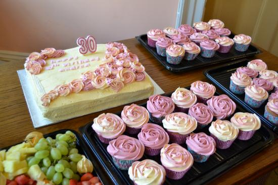 Enjoyable Cupcakes Fruit Platter And Large Birthday Cake Picture Of Funny Birthday Cards Online Sheoxdamsfinfo