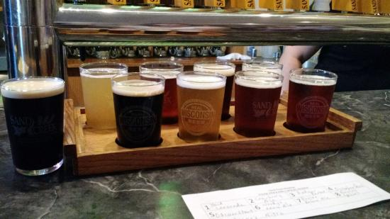 Sand Creek Brewery: Flight of beers from Sand Creek Brewing Co