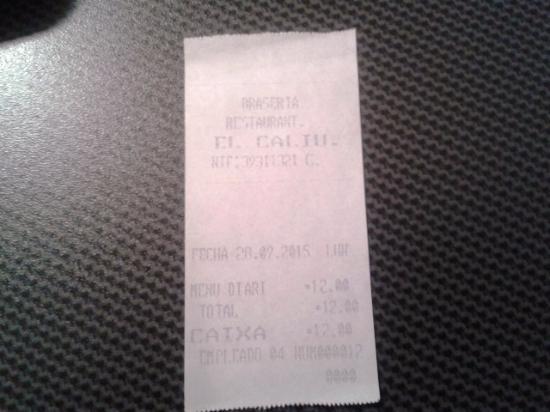 El Caliu: Factura menú 12€