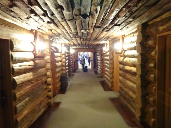 hallway to the east wing at the old faithful inn in yellowstone