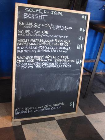 Kaffé 1870 : Chalkboard menu.