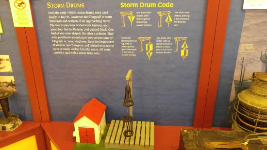 Explanation of storm drums at North Highlands Community Museum, Cape Breton Island, Canada