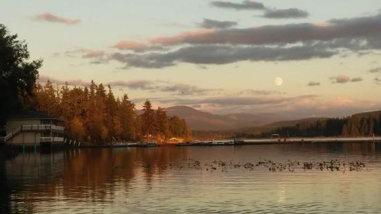Silverlake, WA: Full moon rising just before sunset